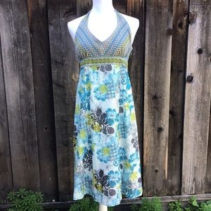 Athleta Dress Aqua and Teal Floral Halter